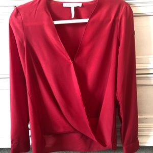 Bcbgeneration red wrap blouse